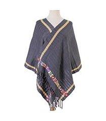 cotton shawl, 'azure bloom' (mexico)