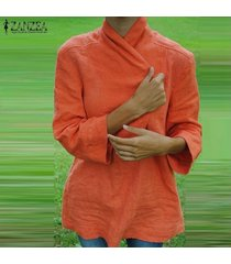 zanzea us blusa con cuello en v de solapa de talla grande para mujer blusa sólida de algodón suelta elegante tops naranja -naranja