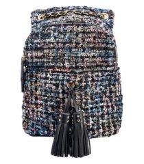 like dreams distorted print weave backpack with tassel bellishments