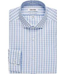 calvin klein infinite non-iron light blue check slim fit dress shirt
