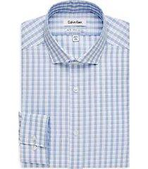 calvin klein infinite non-iron light blue check slim fit dress shirt