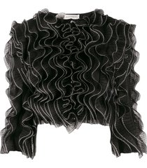 alexander mcqueen pleated ruffle jacket - black