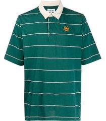 kenzo tiger crest horizontal-stripe polo shirt - green