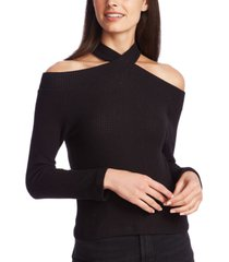 1.state high-neck cold-shoulder top