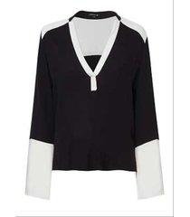 blusa dudalina manga longa decote v lisa feminina (preto, 44)