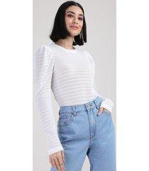 blusa de tricô feminina manu gavassi manga bufante decote redondo off white