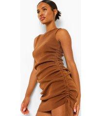 geplooide fijn gebreide jurk, chocolate