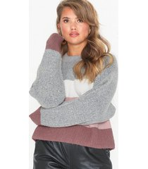 nly trend block colored knit stickade tröjor