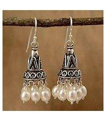 pearl chandelier earrings, 'indian ivory' (india)