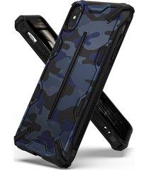 estuche protector ringke dual x iphone xs max - camuflado azul