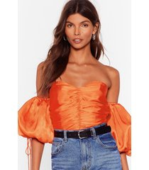 womens all the room we sleeve satin ruched top - orange