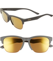 women's smith haywire 55mm chromapop(tm) polarized sunglasses - matte grey/ gravy
