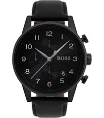 boss men's chronograph navigator black leather strap watch 44mm 1513497