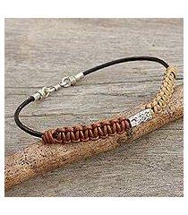 men's leather and silver braided bracelet, 'vintage thailand' (thailand)
