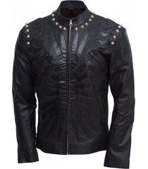 studded leather jacket men black designer made to order all sizes hot sale