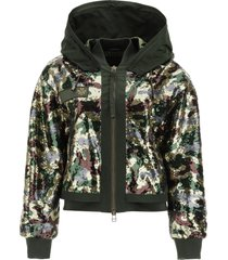 mr & mrs italy camouflage sequined bomber jacket