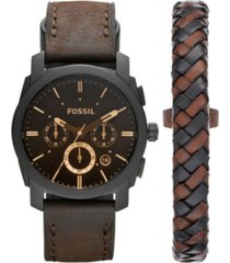 fossil machine chronograph dark brown leather watch and bracelet box set 42mm