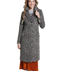 abrigo ls sisa cheetah wool coat gris guess