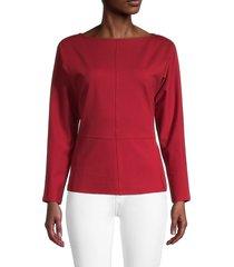 donna karan women's boatneck dolman-sleeve blouse - scarlet - size s