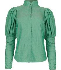 blouse met pofmouwen nila  groen