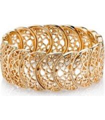 2028 rose gold tone half circle filigree bracelet