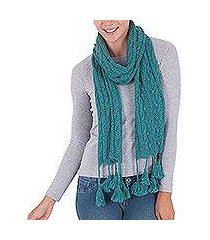 100% alpaca scarf, 'rainy night in teal' (peru)