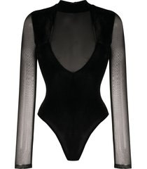 alchemy sheer fitted bodysuit - black
