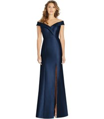 alfred sung off-the-shoulder satin gown