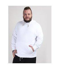 blusão de moletom masculino plus size com capuz e bolso branco