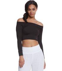 mika yoga wear women's chloe tie back crop long sleeve t-shirt - black large polyester/lycra