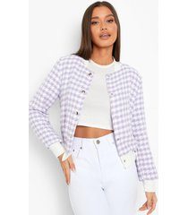 bouclé jas met knoop detail, lilac