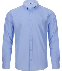 camisa unicolor con botones en cuello color azul, talla xs