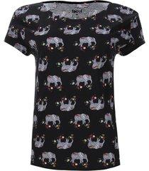 camiseta estampada elefantes color negro, talla s