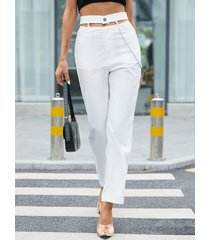 yoins cadena con bolsillos laterales recortados diseño pantalones