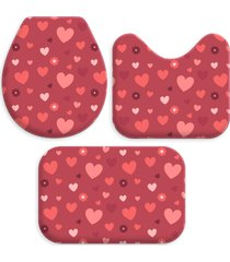 kit 3 tapetes decorativos para banheiro wevans coraã§ã£o vermelho - vermelho - dafiti