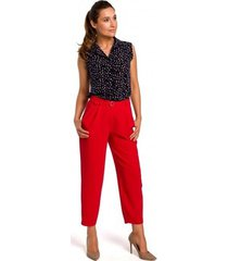 chino broek style s187 broek met knopen - rood