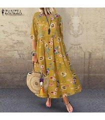 zanzea mujeres vintage floral cocktal party dress casual maxi loose vestidos kaftan -amarillo
