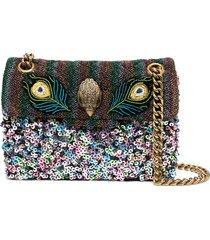 kurt geiger london peacock and sequin-embellished shoulder bag - pink