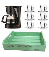 kit 1 cafeteira mondial 110v, 6 xícaras 90 ml com pires e 1 bandeja em mdf verde