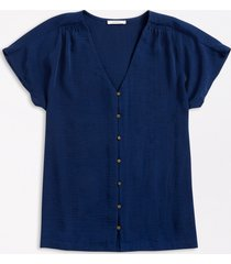 maurices plus size womens blue button down short sleeve blouse