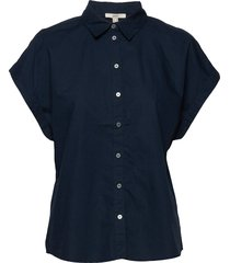 blouses woven kortärmad skjorta blå esprit casual