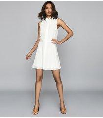reiss allie - semi sheer sleeveless dress in ivory, womens, size 14