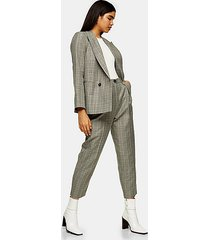 considered mint check ovoid peg pants - mint