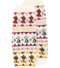 familiar jacquard knit ankle warmers - white