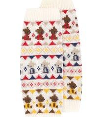 familiar jacquard knit ankle warmers - white