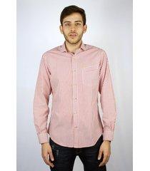 camisa manga larga rayas vinotinto para hombre delascar cc0658