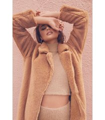 maxi faux fur coat, sand
