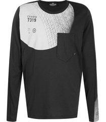 stone island shadow project patch pocket sweatshirt - black