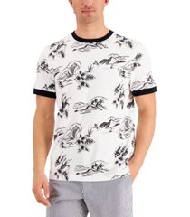 club room men's tropical graphic ringer t-shirt, created for macy's