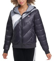 tommy hilfiger sport striped hooded puffer jacket